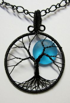 Blue Blue Moon Tree of Life by Mariesinspiredwire on Etsy, $35.00