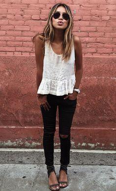 white peplum + black ripped jeans