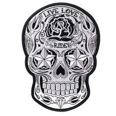Motorcycle Biker Jacket Embroidered White Sugar Skull Patch 4″x5″ | http://www.bikeraa.com