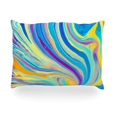 "Ingrid Beddoes ""Rainbow Swirl"" Oblong Pillow"