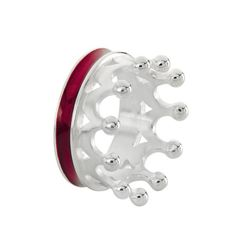 Crown of my Heart, Kronen Ring aus Silber mit Brandlack, Streifen breit.