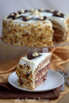 Tort kajmakowy Polish Desserts, Polish Recipes, Baby Cakes, Sweet Recipes, Food And Drink, Cooking Recipes, Yummy Food, Sweets, Baking