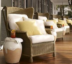 Seating - Saybrook All-Weather Wicker Wingback Armchair | Pottery Barn - wicker, wingback, chair