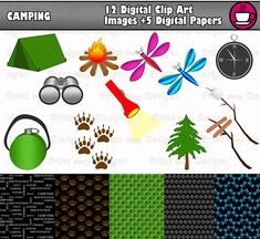 Camping Clip Art 12 Images And 5 Digital Papers Only 399 Perfect For Making Invitations