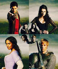 Merlin, Morgana, Gwen, and Arthur