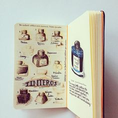 Ink bottles collection, by Jose Naranja Moleskine Sketchbook, Arte Sketchbook, Sketchbook Pages, Journal Pages, Architect Sketchbook, Moleskine Notebook, Fashion Sketchbook, Commonplace Book, Sketchbook Inspiration