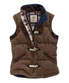 Coffee Toggle Wool-Blend Puffer Vest
