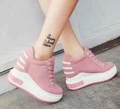 0f801de18b5 Womens Sneakers Platform Casual Lace Up Hidden High Wedge Heels shoes pumps   fashion  clothing