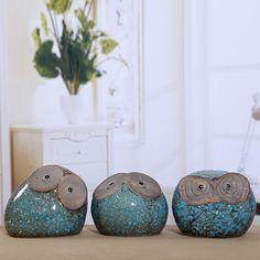 Whispering hibou en céramique poterie Saving Box décor 3 Pcs paon bleu(China (Mainland))