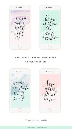Download your free wallpapers, choose from four calligraphy quotes with marble textures. - We Are Kemy