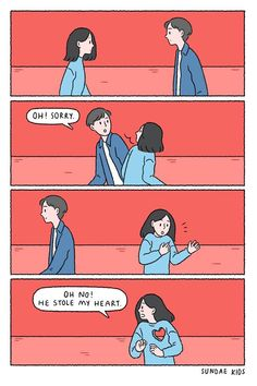 He stole my ♥ K Cute Couple Comics, Couples Comics, Cute Couple Cartoon, Cute Couple Art, Cute Love Cartoons, Funny Couples, Cute Comics, Cute Love Memes, Cute Love Pictures