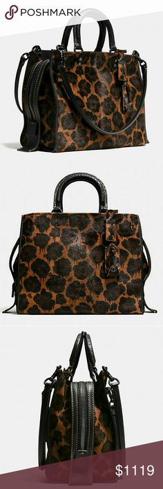 """Coach New York Rogue in Printed Haircalf 100% Authentic COACH 1941 Collection Style No. 54554 MSRP $1400 This striking bold beauty is definitely a show stopper! This version of the Rogue bag is beautifully crafted in richly textured haircalf emblazoned with an exclusive drip - leopard print. Top handles featured with an approximate 3.5"""" drop that allows for hand-carrying, also features an approximate 10"""" removable shoulder straps. Interior zip and French coin pocket. Dust bag included. Coach…"""