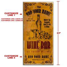 Wine Bar ~ x - Customizable Large Vintage Wooden Bar Sign Wine Signs, Bar Signs, X 23, Wooden Bar, Wooden Signs, Vintage Wine, Vintage Bags, Vintage Style, Small Bars