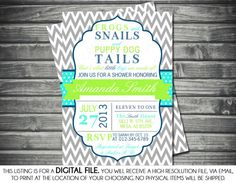Frogs and Snails and Puppy Dog Tails Baby Shower Invitation Boy Baby Invite Chevron Gray Green Blue DIY Printable Invite PDF (Item Baby Shower Invitations For Boys, Diy Invitations, Baby Shower Printables, Invites, Kylie Baby Shower, Baby Boy Shower, Baby Showers, Baby Shower Crafts, Baby Shower Games