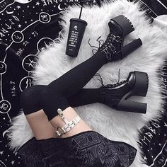 'Get your Goth On' Gothic Platform Ring Boots - Alternative fashion from RagsnRituals. Gothic outfit, grunge outfit, outfit inspo, alternative style Source by oskarbaraki - Grunge Outfits, Edgy Outfits, Cute Outfits, Fashion Male, Grunge Fashion, Gothic Fashion, Fashion Boots, Alternative Mode, Alternative Fashion