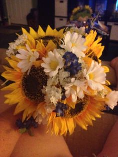 Bridesmaids bouquet-Sunflowers with white daises 4/4/15