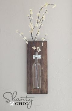Brilliant DIY Decor Ideas for The Bedroom - Wine Bottle Wall Vase - Rustic and Vintage Decorating Projects for Bedroom Furniture, Bedding, Wall Art, Headboards, Rugs, Tables and Accessories. Tutorials and Step By Step Instructions http:diyjoy.com/diy-decor-bedroom-ideas