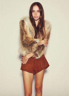 Russh Mag SUNDANCE KID  Fur Elise jacket, $1990; One Teaspoon shorts, $200.