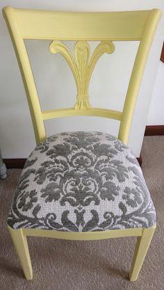yellow & grey chair redo