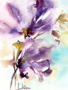 Abstract Flowers #Watercolor #Painting, Original Watercolor Painting Floral Watercolour Art color theme: purple, lavender, sky blue  One of a Kind #Art Watercolour Art Piece  ... #art #etsy #trending #sale #decor #painting #watercolor #aquarelle