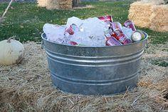 drinks in galvanized pail