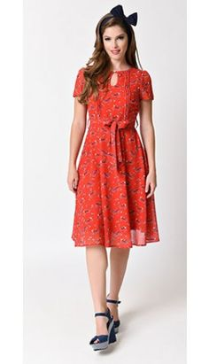 Lindy Bop Red Bicycle Bretta Tea Dress