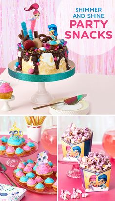 "Cakes and cupcakes and popcorn, oh my! If your planning a Shimmer and Shine birthday party, you'll want to provide a range of snacks and sweet treats in the purples, pinks, and blues of the show. Try cupcakes with toppers featuring Nahal and Tala, purple candy melt popcorn in custom free printable holders, or a Shimmer and Shine ""Oopsie!"" birthday cake. The store-bought and DIY possibilities are endless."
