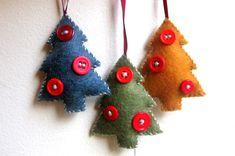 Felt ornament Christmas tree Christmas ornament handmade felt ornament recycled materials. $13.00, via Etsy.