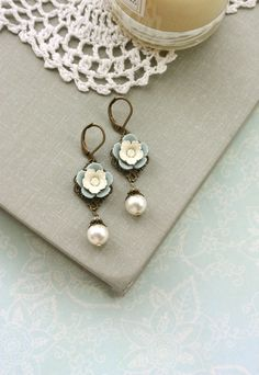Spring First Love Earrings. A Vintage Style Soft Grey Blue, Cream Pansy Flower, Ivory Pearl. Vintage Inspired. via Etsy.