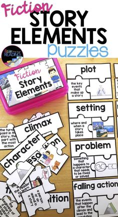 Fiction Story Elements Puzzles - These are great for teaching elements of a story, reading centers, guided reading resources, independent center activities, and more. Story Elements for Kids Story Elements Activities, Vocabulary Activities, Reading Activities, Reading Resources, Literacy Games, 2nd Grade Ela, Third Grade Reading, Guided Reading, Teaching Reading