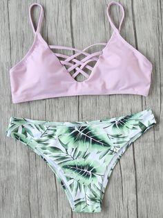 Set bikini cruzado con estampado de hoja mix & match - rosa
