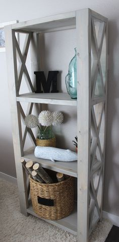 "Rustic triple x bookShelf. Do it yourself home projects from Ana White They used ""Unbleached Oak"" from Varathane, perfect color! Diy Wood Projects, Furniture Projects, Home Projects, Fall Projects, Farmhouse Furniture, Rustic Furniture, Home Furniture, Furniture Plans, Antique Furniture"