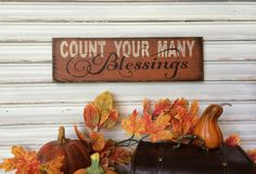 Fall Decor Wood Sign, Count Your Blessings, Autumn Decoration, Rustic Handmade Sign, Pumpkin Colors, Primitive Thanksgiving Sign, Folk Art by TinSheepShop on Etsy