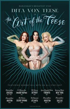 Feb 25, Atlanta - My #burlesque show The Art of the Teese  is coming to Chicago, Detroit, Grand Rapids, Toronto, New York, Boston, Silver Spring, Atlanta, Houston, and Dallas!  Visit artoftheteese.com for ticket links  Poster design by Adam Rajcevich and Adele Mildred with photo by Albert Sanchez and my signature coiffure in a trio of shades thanks to Tony Medina! (Makeup by me) Get all the secrets to this look with my 378 page book Your Beauty Mark, the Ultimate Guide to Eccentric Glamour!