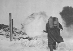 Flamethrower in action during the Soviet Christmas offensive, 25-28 december 1941. Possibly XXX pioneers battalion. XXX are ancient roman numbers and stands for 30th battalion ''Guastatori'' who fought in Russia.