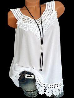 Vintage Blouse Summer Lace Tops Plus Size Sleeveless Women 2018 Shirt Patchwork Tunic Ladies Hollow Out Crochet Blusas Feminina Shirts & Tops, Vest Tops, Women's Tops, Nice Shirts, Plus Size Tank Tops, Shirt Bluse, Shirt Vest, Looks Plus Size, Lace Tops