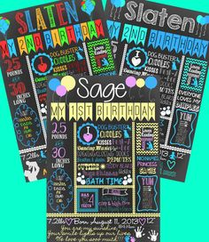 first birthday party ideas - custom and personalized digital chalkboards great for 1st birthdays or any age!