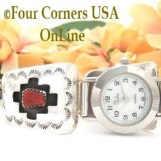 Four Corners USA Online - Women's Coral Sterling Watch shown with Mother of Pearl Face Native American Indian Jewelry, $115.00 (http://stores.fourcornersusaonline.com/womens-coral-sterling-watch-shown-with-mother-of-pearl-face-native-american-indian-jewelry/)