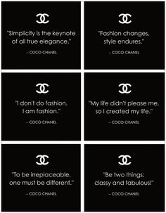 Famous COCO CHANEL Quotes: 10 Sheets of Craft - Scrapbook - Giftwrap - Art Paper. $3.99, via Etsy.