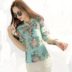 2016 Sexy com decote em V blusa Chiffon mulheres flor Floral imprimiram a camisa roupas Femininas Floral Tops Blusas Femininas Plus Size XXXL em Blusas de Roupas e Acessórios no AliExpress.com | Alibaba Group