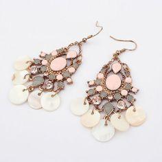 Beautiful Bohemian Shell Dangle Chandelier Earrings