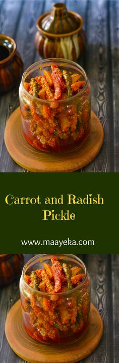 Gajar Mooli Ka Achar Tangy delicious carrot and Radish winter special seasonal pickle. quick and easy to make and taste awesome Vegan Indian Recipes, Vegetarian Recipes, Radish Pickle Recipe, Lunch Recipes, Diet Recipes, Chutney Recipes, Canning Recipes, Food Dishes, Kitchens