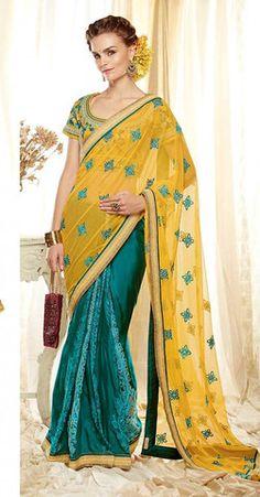 Yellow and Turquoise Blue Designer Saree kimora