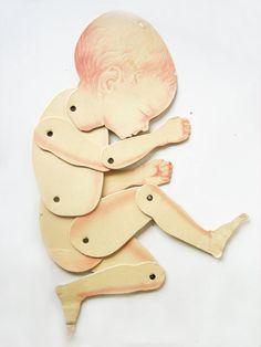 Babypuppe antikes Papier Puppe anatomische von DogDayAfternoons