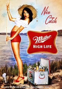 """Miller High Life Fishing Ad - METAL Counter Display Sign . $9.99. This is a 5"""" x 7"""" counter display for Miller High Life Beer. Image is printed on high gloss metal and is new."""