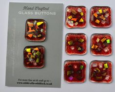 SOLD Commissioned 8 x  Fused glass Red by NikkiEllaWhitlock, £24.00