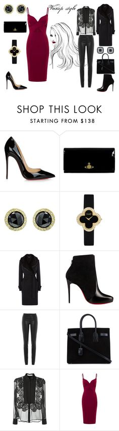 """""""Vamp style"""" by lulochka ❤ liked on Polyvore featuring Christian Louboutin, Vivienne Westwood, Todd Reed, Van Cleef & Arpels, Karen Millen, Helmut Lang, Yves Saint Laurent, Givenchy and Aloura London"""