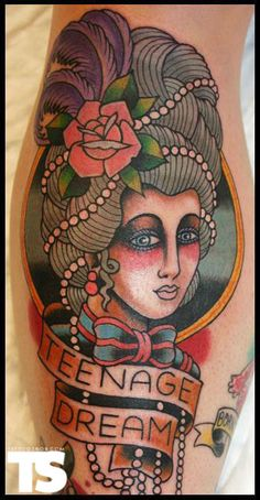 Traditional Marie Antoinette by Matt Brotka - Damn. I love traditional tattoos and this one is funny to boot!