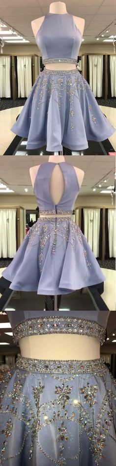A-line 2 Piece Homecoming Dresses Light Blue Rhinestone Beaded Hoco Dress 2 piece homecoming dresses, cheap homecoming dresses, short prom dresses Semi Dresses, Dresses Short, Hoco Dresses, Dance Dresses, Cheap Dresses, Pretty Dresses, Beautiful Dresses, Backless Dresses, Cheap Clothes
