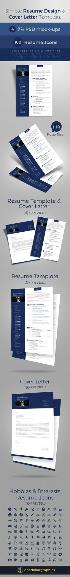 Simple Resume CV Design Cover Letter Template 4 PSD Mock Ups 100 Icons